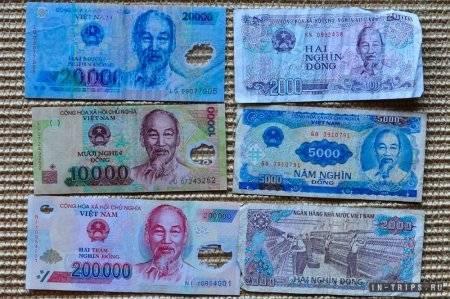 Пластиковые и бумажные вьетнамские донги